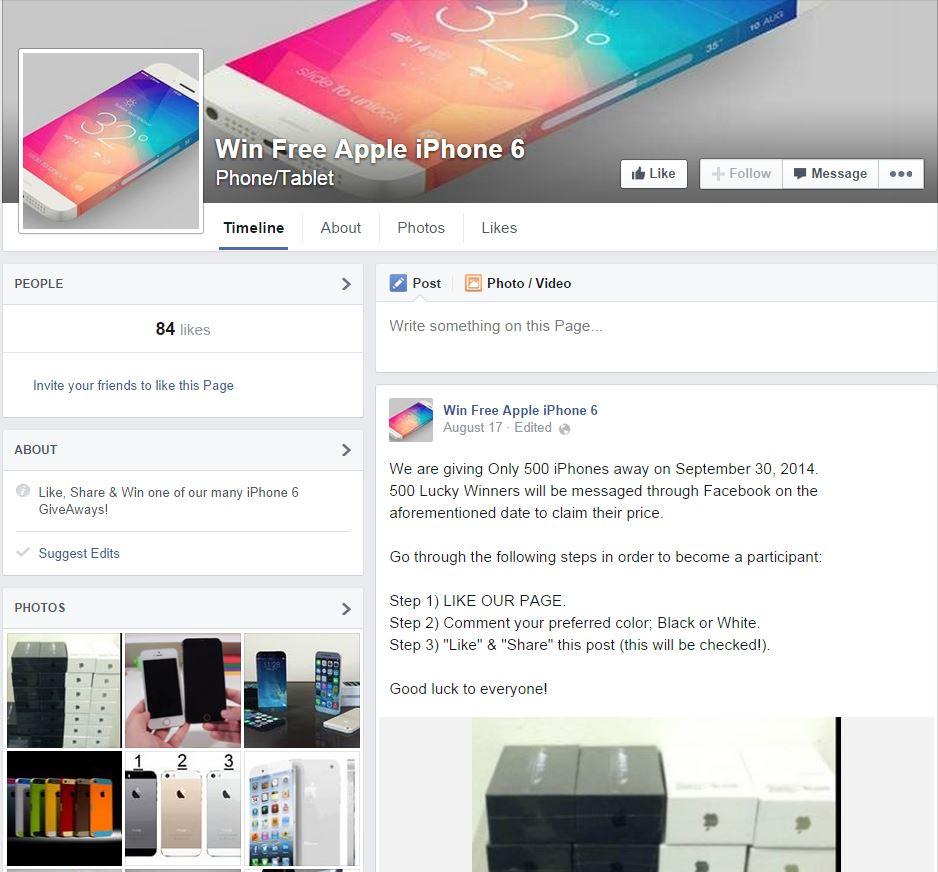 FB iPhone 6 scam