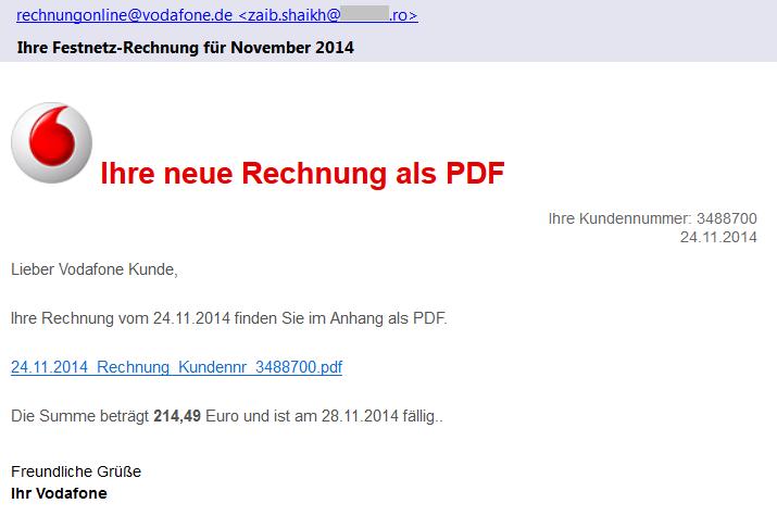 Phishing email - Vodafone