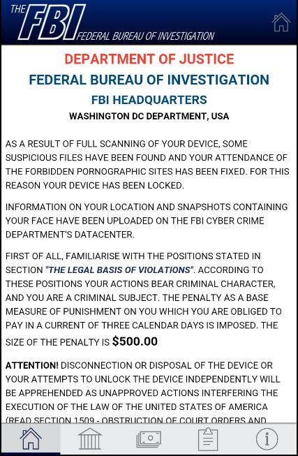 fake FBI alert