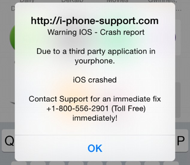 "iScam displays a ""crash report"" to affected users. (Photo via Daily Mail)"
