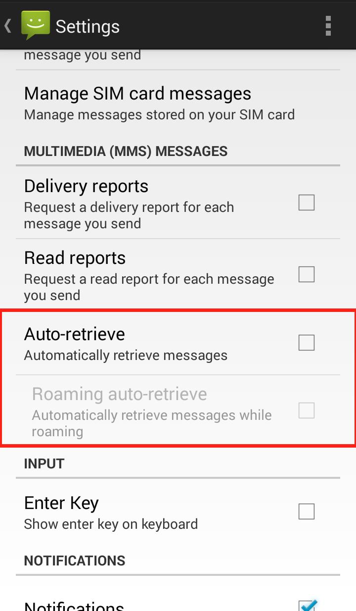 Messaging app settings