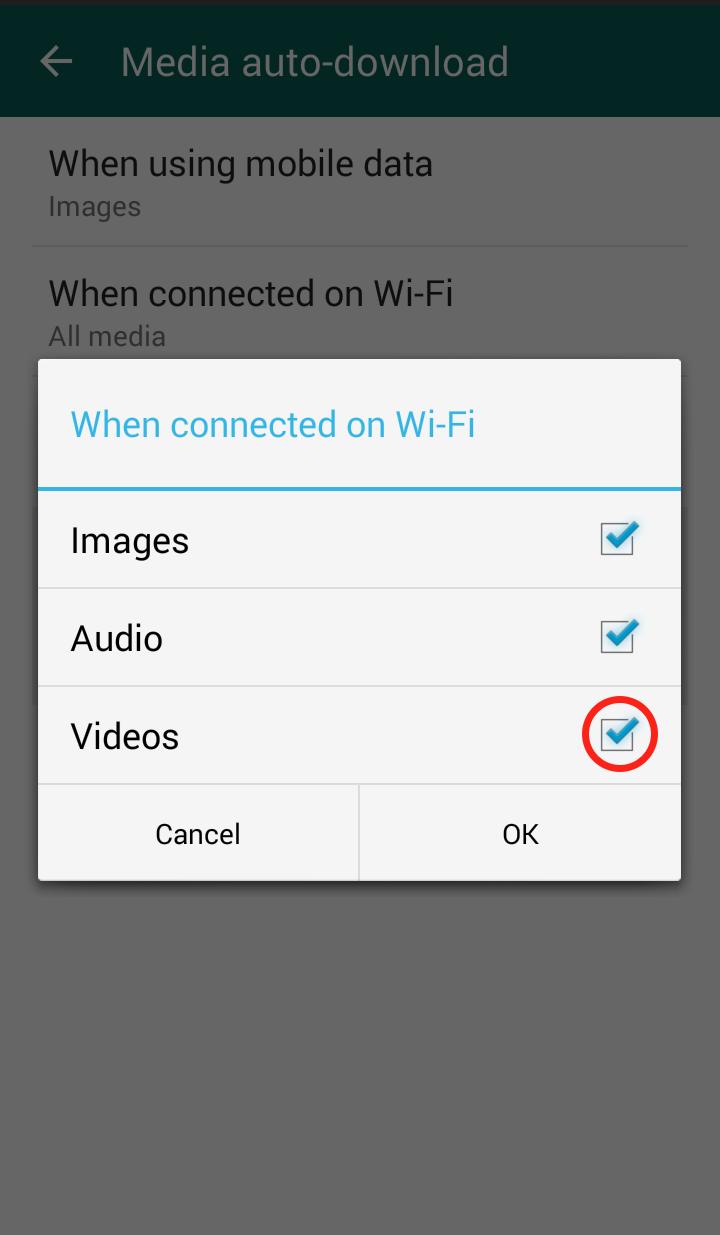 Whatsapp settings
