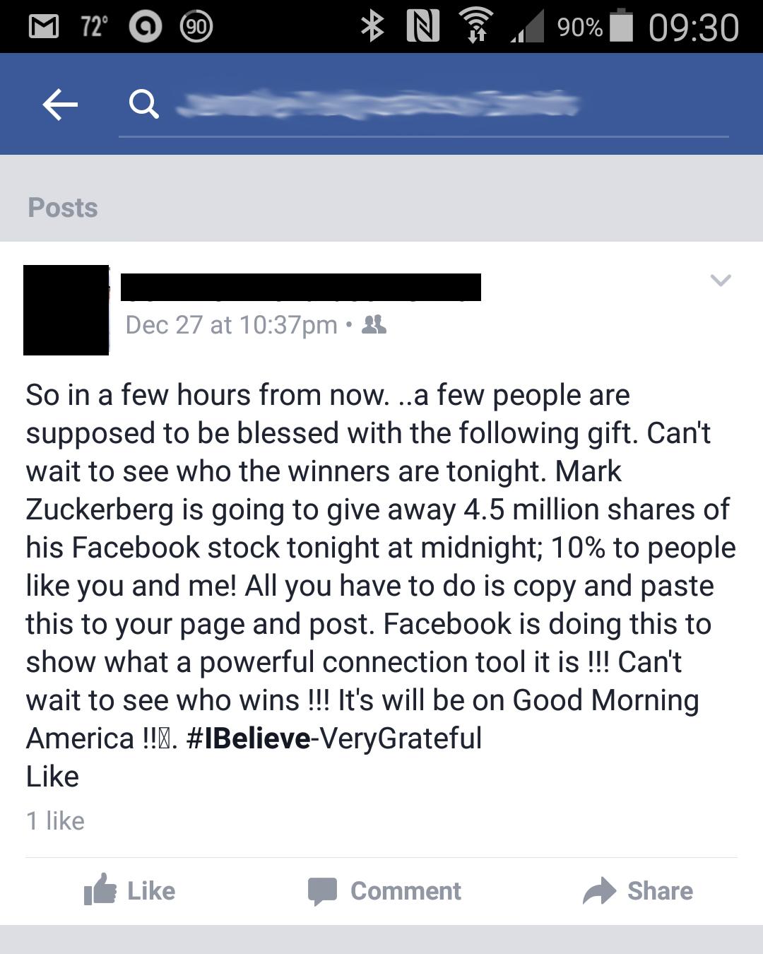 Facebook newsfeed hoax