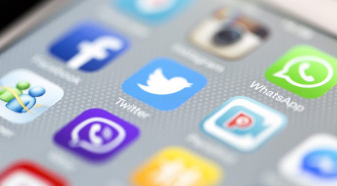 Social Media Apps with Whatsapp on iPhone 6 Screen